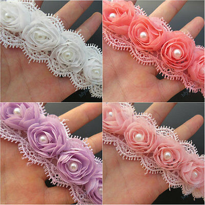 10pcs Vintage Flower Pearl Lace Trim Wedding Bridal Dress Ribbon Applique Sewing