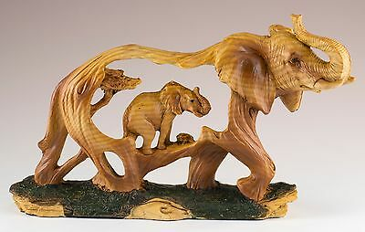 Elephant Carved Wood Look Figurine Resin 7.25 Inch Long New In Box