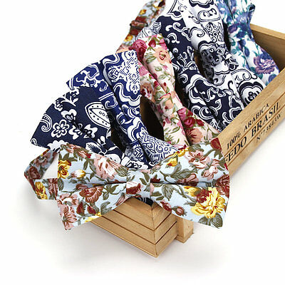 High Quality Men's Bow Tie Adjustable Cotton Bowtie Vintage Floral Butterfly