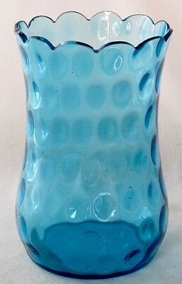 """Victorian blown glass blue optic celery vase with cut scalloped rim, 6"""" h.  EAPG"""