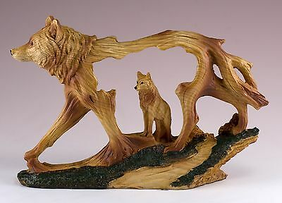 Wolf Carved Wood Look Figurine Resin 6.75 Inch Long New In Box