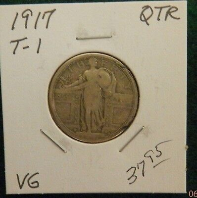 1917  Standing Liberty silver quarter - Very Good T-1