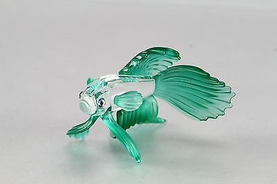 Swarovski Crystal Siamese Beta Fighting Fish Green Fins Figurine