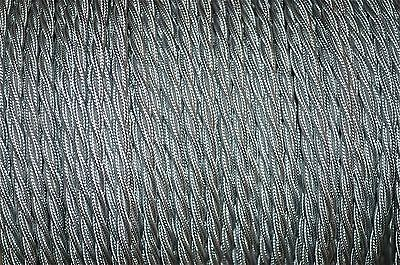 1 meter silver twisted vintage lamp light cable flex wire 3 core Anglepoise T6