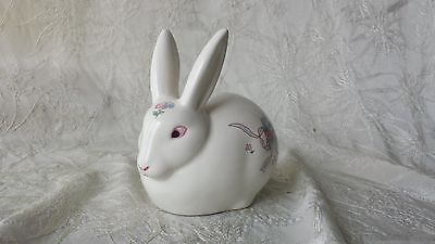 Vintage Made in Japan Floral Decorated Bunny Rabbit Cotton Dispenser