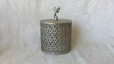 Vintage Mid Century Filigree Angel Cherub Silver Metal Toilet Paper Roll Cover