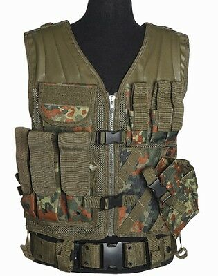 BW MOLLE ARMY Military CROSSDRAW TACTICAL ASSAULT Weste Vest Flecktarn