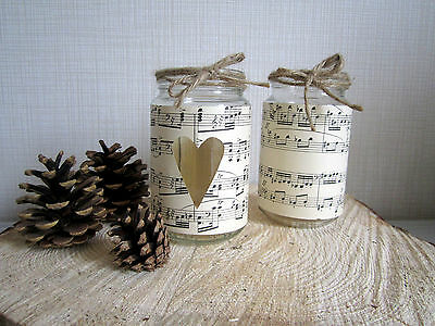 10 Vintage Glass Jars Vases Centre Pieces Music Paper Shabby Chic Wedding