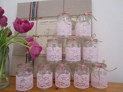 10 Vintage Glass Jars Vases Centre Pieces Shabby Chic Wedding Pinnk Lace