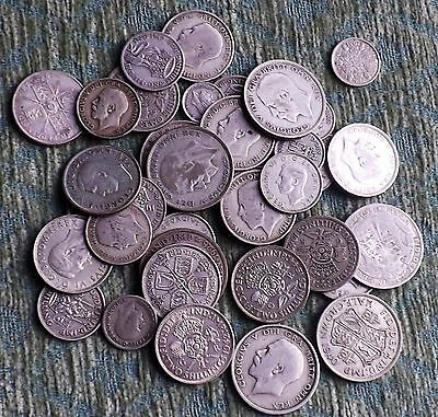 George V & George VI Mixed Denomination Pre 1947 Silver Circulated Coins - 332g