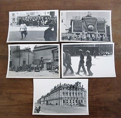 Lot de 5 anciennes photos Russie Tramway chantier ouvriers Moscou Moscow Russia