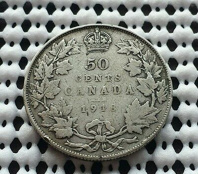 1918 ❀ Sterling Silver ❀ King George V 50 Cents Canada Half Dollar