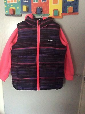Girls Nike Pink Gilet With Sleeves And Hood Age 4