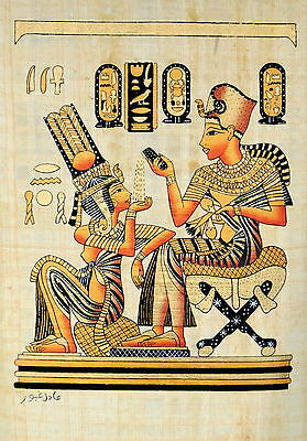 "Egyptian Papyrus - Hand Made - 9"" x 13"" - Ancient Art -King Tut With His Wife"