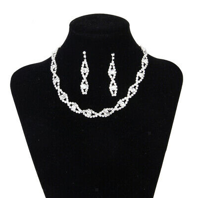 Bridal Wedding Party Prom Jewelry Crystal Diamante Twisted Necklace Earrings Set