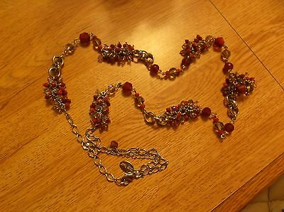 White House Black Market Red & Clear Crystal Clusters Necklace NEW