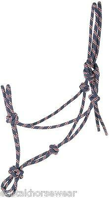Harry's Horse navy, red & white cob size rope halter/headstall