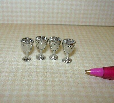 Miniature Silver Metal Goblets, Set of 4 Sturdy Attractive DOLLHOUSE 1/12 Scale