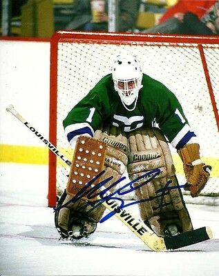 VINTAGE MIKE LIUT SIGNED HARTFORD WHALERS GOALIE 8x10 PHOTO #2 Autograph