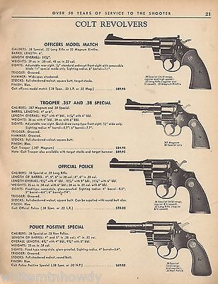 1975 COLT Officers Match, Trooper .357/.38 Official Police & Positive Special AD