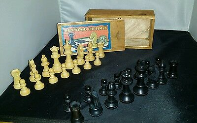 Old Vintage Small French Turned Wooden Chess Set TSL Maker Boxed Wood Boxwood