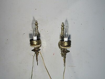 Antique Vintage Sconces Pair Brass Restored Light Fixtures Rewired Ornate Onyx