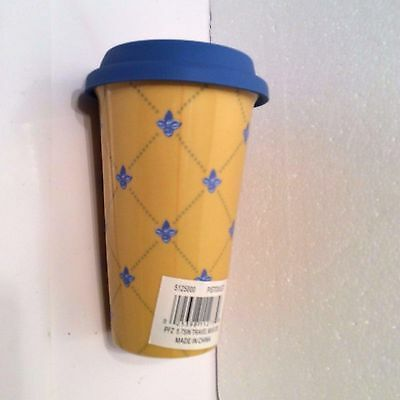 PISTOULET Insulated Pottery Travel Cup Mug Hot Cold Blue Yellow Pfaltzgraff New