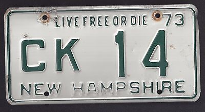 1973 New Hampshire Live Free Or Die, License Plate (Ck14)