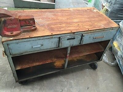 Industrial Storage Bench on Castors with 2 Drawers, 2 Shelves, Dawn Vice