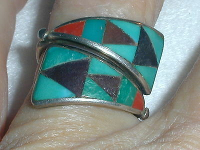 Gorgeous! Zuni Zme Sterling Gemstone Inlaid Bypass Ring-