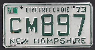 1973 New Hampshire Live Free Or Die, License Plate Cm897