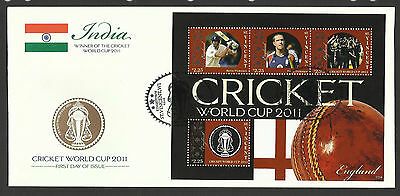 ST VINCENT 2011 ICC CRICKET WORLD CUP ENGLAND TEAM KEVIN PIETERSEN 4v Sheet FDC