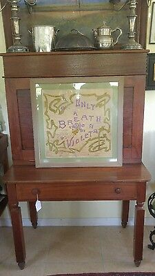 Antique 1903 Embroidered Pillowcase Motto Sampler Buffalo N.Y. BREATH OF VIOLETS
