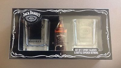 Jack Daniel's Spirit Glasses X 2 With Bottle Opener Keyring