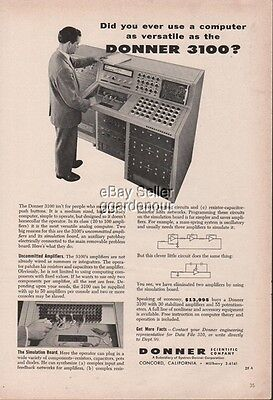 Donner 3100 Analog Computer Photo Concord California Vintage 1960 Print Ad