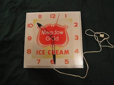 Vintage Meadow Gold Ice Cream Clock  Works 15 3/4 x 16 Inches