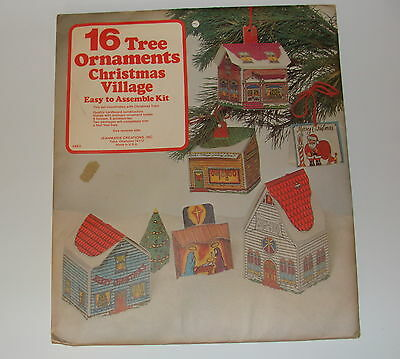 16 Christmas Village Ornaments Sealed Kit Jeanmarie Creation 70s Cardstock Paper