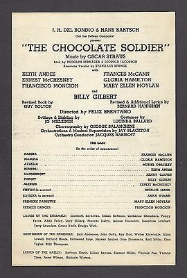 """Billy Gilbert """"CHOCOLATE SOLDIER"""" Keith Andes / Oscar Straus 1947 Broadside"""