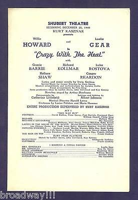 """Luella Gear """"CRAZY WITH THE HEAT"""" Willie Howard 1940 FLOP Boston Tryout Playbill"""