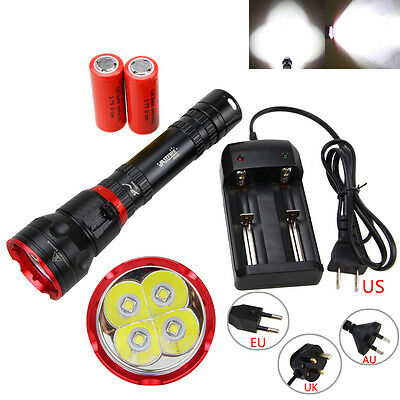 15000Lm 4x XM-L2 LED Scuba Diving Flashlight 26650/18650 Torch Underwater 100M