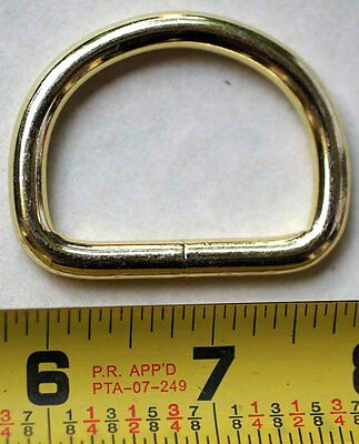 "(10 PACK) 1-1/2"" welded wire D DEE Ring Brass plated Dog Collar Leash Tack 40346"