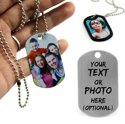 Personalised Print Photo/Text Stainless Steel Army Dog Tags  Pendant Necklace