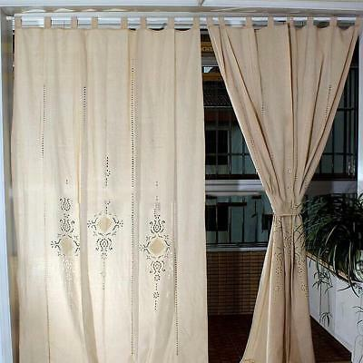 """100"""" RUSTIC French Lace Hollow Window Curtain Blackout Drape Panel Tab Top"""