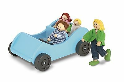 Melissa & Doug Road Trip Wooden Toy Car and 4 Poseable Dolls (10-13 cm each)