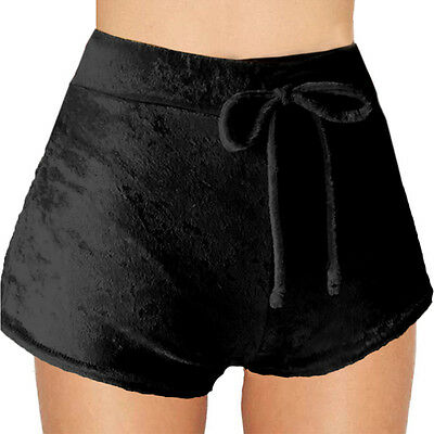 Women Ladies Elastic Hot Pants Crushed Velvet High Rise Tie Shorts Bottoms New