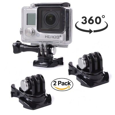 2 Pack 360° Rotating Quick Release Helmet Buckle Clip Mount for GoPro Hero 3/4/5