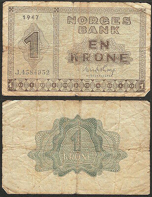 NORWAY - 1 krone 1947 P# 15b Europe banknote - Edelweiss Coins