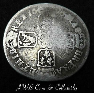 1696 William III Silver Shilling Coin