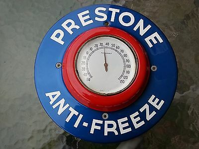 PRESTONE ANTIFREEZE ROUND THERMOMETER Blue and Red Porcelain Colors