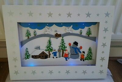 Light Up Wooden Christmas Scene Picture